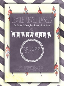 Chalk Chevron Feather Lexile Level Labels for Books and Bo