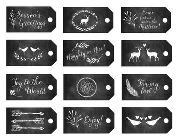 Chalk Christmas Tags, Digital Clipart, Christmas Tags Set #095