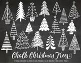 Chalk Christmas Tree Clipart. Hand Drawn Chalkboard Christmas, Winter Doodles.