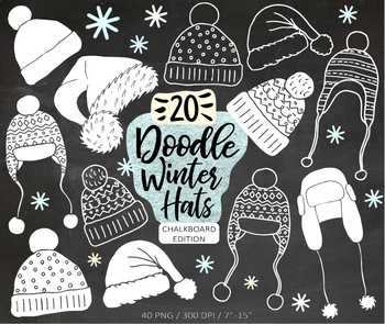 Chalk Christmas, Winter, Santa Hat Clip Art Hand Drawn Doodles - 40 images.
