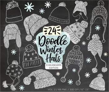 Chalk Christmas, Winter, Santa Hat Clip Art Hand Drawn Doodles - 48 images.