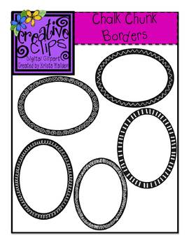 Chalk Chunk Borders- Ovals and Rectangles {Creative Clips Digital Clipart}