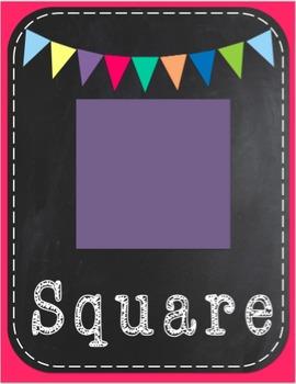 Chalk Classroom Decorations: 2D Shape Cards