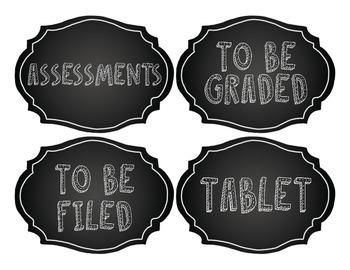 Chalk Classroom Labels: 100 Chalkboard Themed Classroom Labels