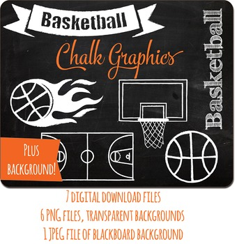 SALE- Chalk Clipart Basketball Set and Blackboard Background