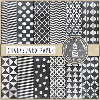 Chalk Digital Paper, Chalkboard Patterns