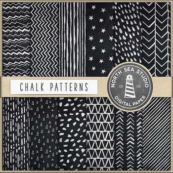 Chalk Digital Paper, Hand Drawn Patterns, Chalkboard Background
