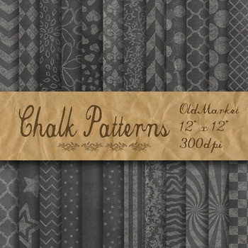 Chalk Digital Paper Pack - Patterned Chalkboard Backgrounds - 24 Papers -12 x 12