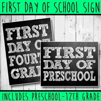 Chalk First Day of School / Back To School Printable Sign INCLUDES ALL GRADES