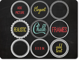 SALE- Chalk Frames Clipart and Blackboard Background, Round