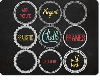 SALE- Chalk Frames Clipart and Blackboard Background, Round