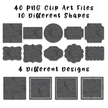 Chalk Frames and Borders Clip Art - 40 png files - 10 shapes in 4 designs