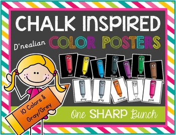 Chalk Inspired Color Posters {D'Nealian}