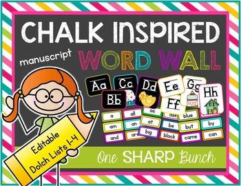 Chalk Inspired Editable Word Wall {Manuscript}