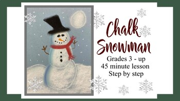 Chalk Pastel Snowman in the night art kids project activity winter holiday