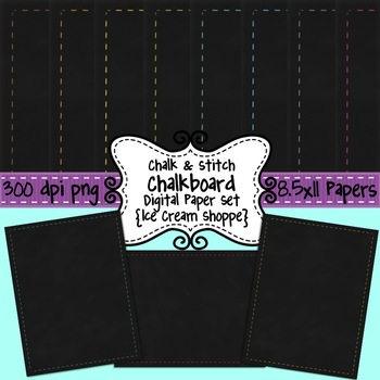 Chalk & Stitch Digital Chalkboard Paper Background Set of 8 {Ice Cream Shoppe}