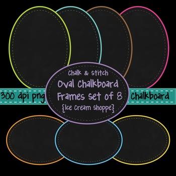 Chalk & Stitch Oval Chalkboard Frames Clip Art Set of 8 {I