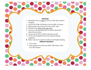 Reading Habits Chalk Talk Discussion Questions Set  - Back to School Activity