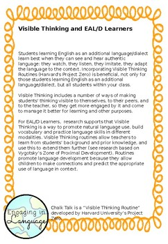 Chalk Talk: Visible Thinking with the EAL/D Learning Progression