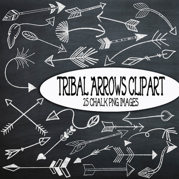 Chalk Tribal Arrows Clip Art - 25 PNG Images - Bonus! 2 Chalkboard Backgrounds