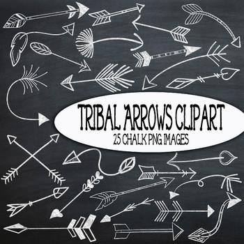 Chalk Tribal Arrows Clip Art - 25 PNG Images - Bonus! 2 Ch