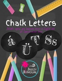 Chalk English/Spanish alphabet letters