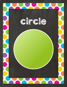 Chalkboard and Bright Dots Shape Posters (2D and 3D)-Classroom Decor