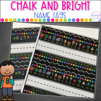 Chalk and Bright Name/ Desk Tags- Editable