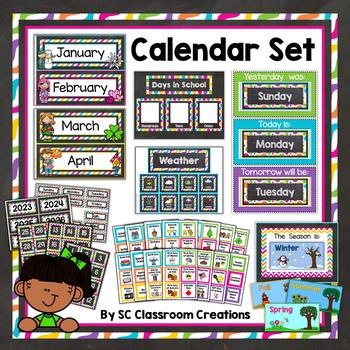 Chalkboard and Brights Calendar Set-Classroom Decor