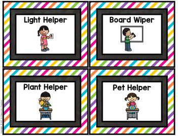 Chalk and Brights Classroom Jobs- Classroom Decor