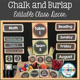 Chalk and Burlap Class Decor