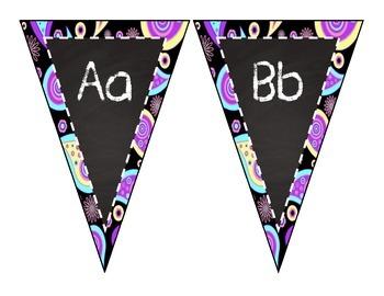 Chalk and Purple Paisley Alphabet Pennants