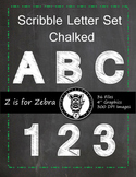 Alpha Chalk board Scribble Letters 0-9 & Upper Case letters - CU Ok