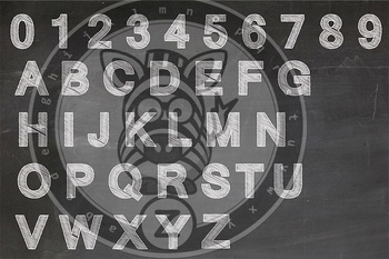 Alpha Chalk board Scribble Letters 0-9 & Upper Case letters - CU Ok