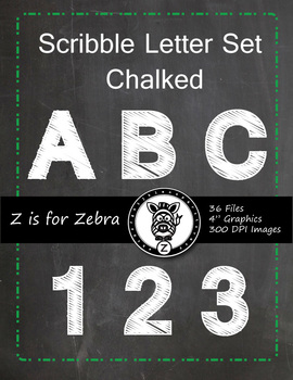 Alpha Chalk board Scribble Letters 0-9 & Upper Case letter