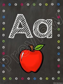 Chalk board and bright polka dots alphabet