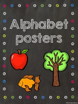 Chalk board and bright polka dots alphabet