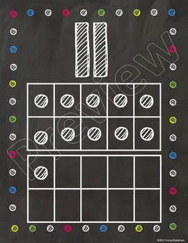 Chalk board and bright polka dots ten frames #1-20