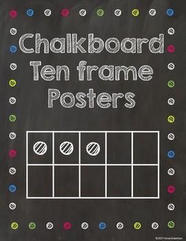Chalk board and bright polka dots ten frames #1-20
