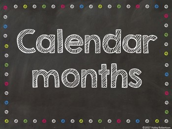 Chalk board and bright polka dots calendar months