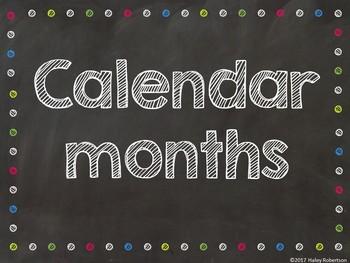 Chalk board and bright polka dots calendar months