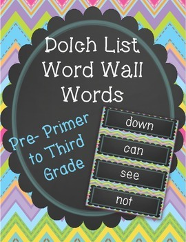 Chalk board and chevron word wall words