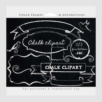Chalk clipart - frames, flourishes, decorative frames, birds, swirls, banners