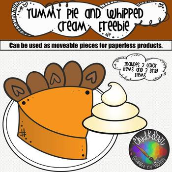 ChalkStar Graphics by Michelle – Yummy Pie and Whipped Cream PNG Clip Art