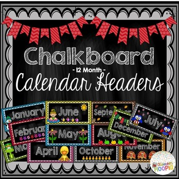 Chalkboard 12-Month Calendar Headers