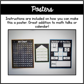 Chalkboard Calendar Posters: 120 Chart, Number of the Day, Fact Family House
