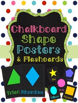 Chalkboard 2D Shapes Posters and Flashcards