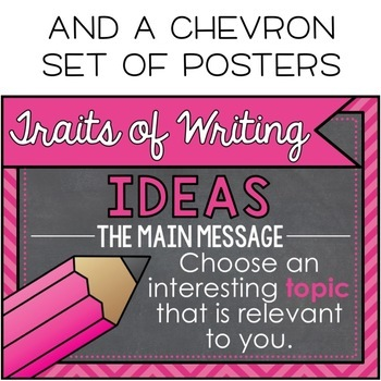 Chalkboard 6 Traits of Writing Posters