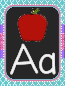Chalkboard Alphabet Cards - Blue Quatrefoil
