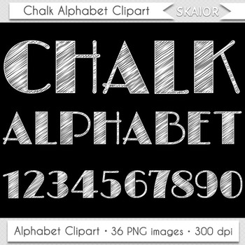 Chalkboard Alphabet Clipart Chalk Letters Numbers White Doodle Text Printable